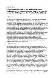 Neurobiologie - ADS-Kritik