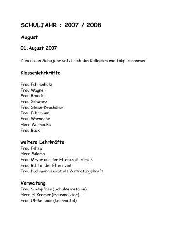 SCHULJAHR : 2007 / 2008 - Grundschule Steimbke