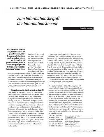 Zum Informationsbegriff der Informationstheorie
