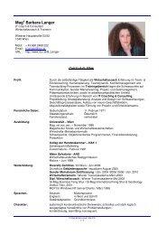 Projekte & CV - Barbara Langer