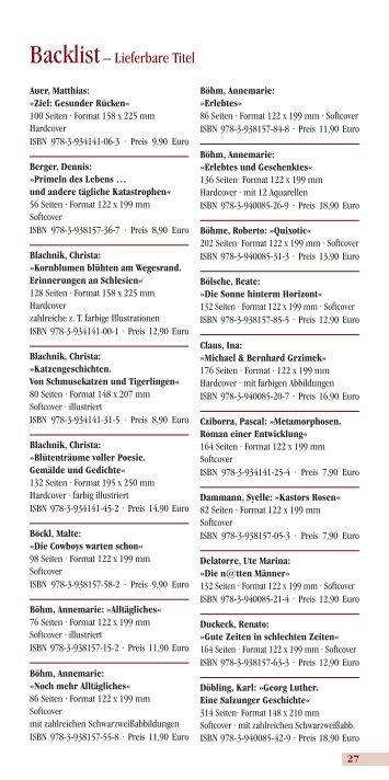 Backlist– Lieferbare Titel - Verlag Neue Literatur
