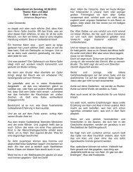 Gottesdienst am Sonntag, 02.09.2012 Thema: Kain und Abel Text: 1 ...