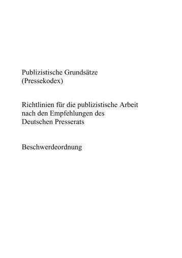Pressekodex - Prof. Dr. Johannes Ludwig