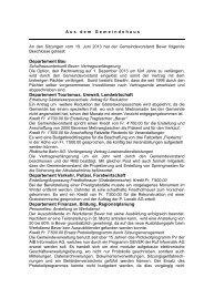 Bericht vom 19. Juni 2013 - Bever