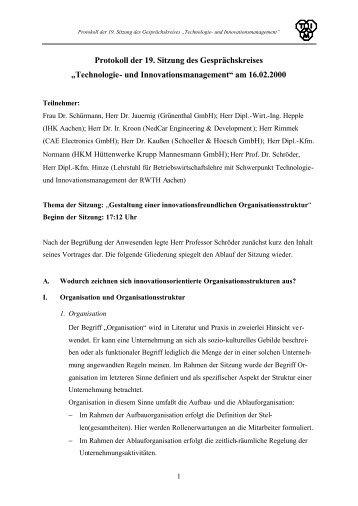 Protokoll 19 - Lehrstuhl Technologie- und Innovationsmanagement