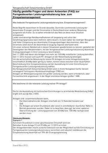 FAQ Einspeisemanagement - Netzgesellschaft Ostwürttemberg GmbH
