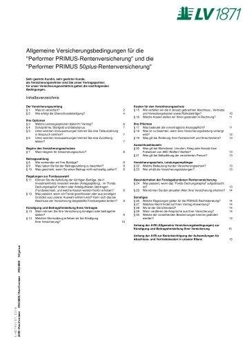 Bedingungen Performer PRIMUS - Lebensversicherung von 1871 a.G.