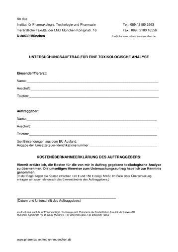 ToxFormular neu2013 - Institut für Pharmakologie, Toxikologie und ...