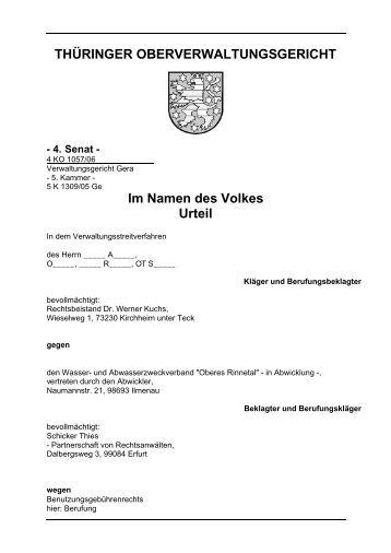 Benutzungsgebührenrecht - Thüringer Oberverwaltungsgericht