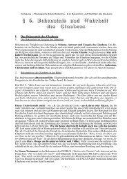 § 6. Bekenntnis und Wahrheit des Glaubens - Theologie-Skripten
