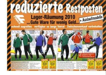 Lager-Räumung 2010 Ware für wenig Geld... - meinSportShop24.de