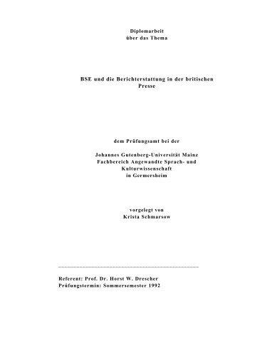 BSE und die Berichterstattung in der britischen Presse - schmarsow.de