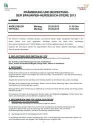 Herdebuchbewertung Stiere 2013 - Braunvieh Vorarlberg