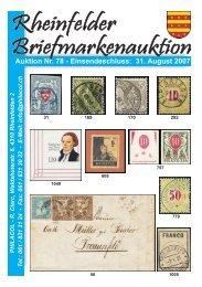 Philacol - Auktion 78 vom 31. August 2007 - Schnellauktion