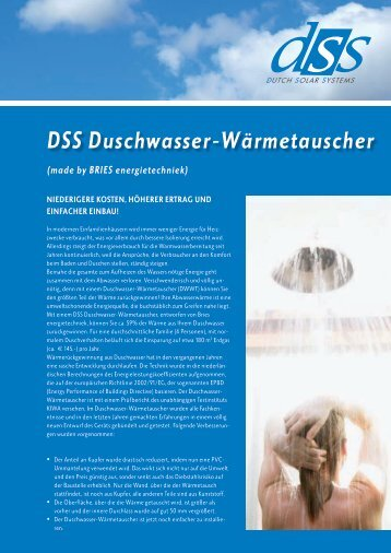 DSS Duschwasser-Wärmetauscher - Dutch Solar Systems