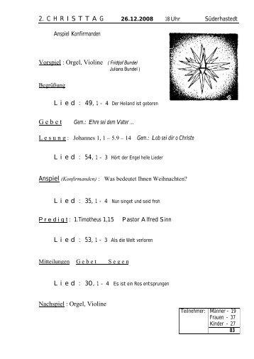 2. C H R I S T T A G    26.12.2008 Vorspiel : Orgel, Violine ( Fridtjof ...