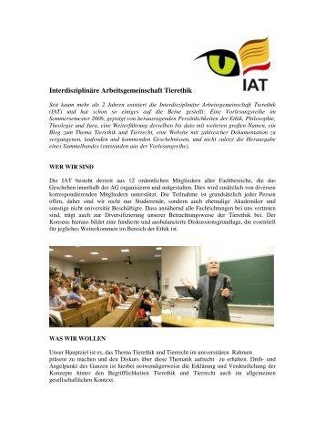 weiterlesen - Interdisziplinäre Arbeitsgemeinschaft Tierethik