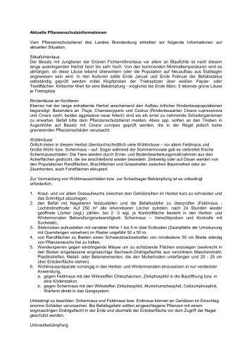 Aktuelle Pflanzenschutzinformationen Vom Pflanzenschutzdienst ...