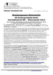 Medieninformation Viertelfestival - Niederösterreichische ...