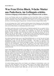 Was Frau Elvira Block, 9-fache Mutter aus Paderborn, im Gefängnis ...