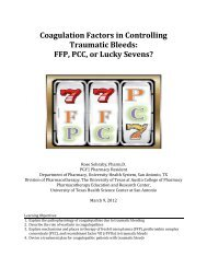 Coagulation Factors in Controlling Traumatic Bleeds: FFP, PCC, or ...