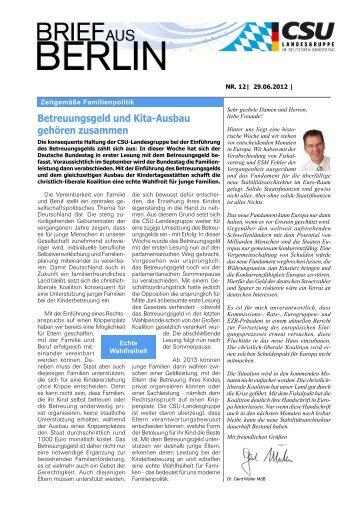 Betreuungsgeld und Kita-Ausbau gehören ... - Dr. Gerd Müller