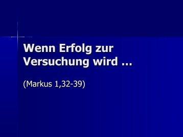 Wenn Erfolg zur Versuchung wird … - EFG Hemsbach