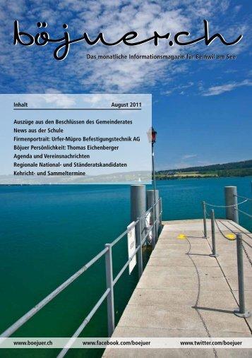 Das monatliche Informationsmagazin für Beinwil am See - dorfheftli