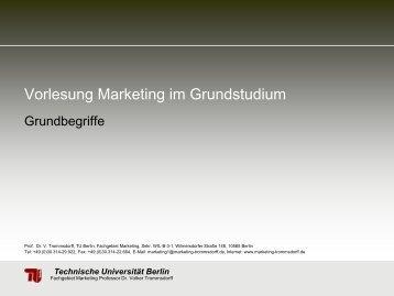 Technische Universität Berlin - Fachgebiet Marketing - TU Berlin