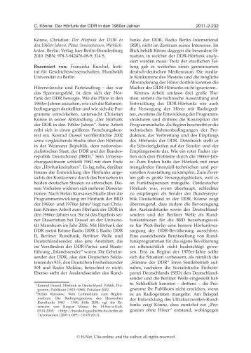 H-Soz-u-Kult, 23. Juni 2011 - Verlag für Berlin-Brandenburg