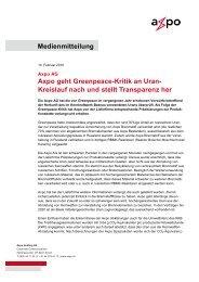 Medienmitteilung Axpo geht Greenpeace-Kritik an Uran- Kreislauf ...