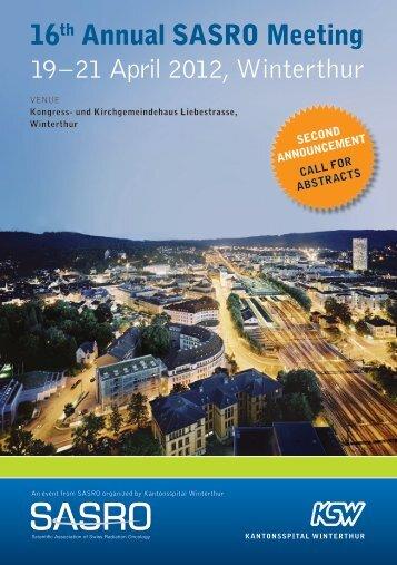 16th Annual SASRO Meeting 19 – 21 April 2012, Winterthur