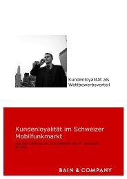 Kundenloyalität im Schweizer ... - Bain & Company
