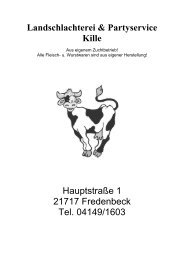 Preisliste ausdrucken... - Landschlachterei & Partyservice Bernd Kille
