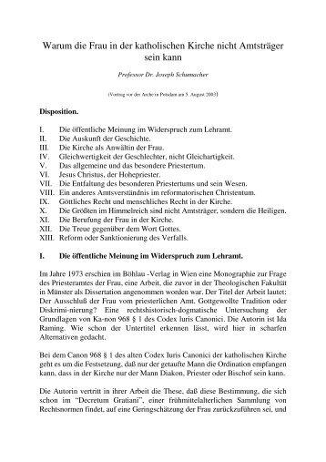 Frauenpriestertum - von Prof. Dr. Joseph Schumacher