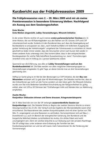 Bericht aus der Frühjahressession 2009 - Max Chopard-Acklin