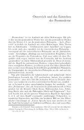 Österreich und das Entstehen der Postmoderne