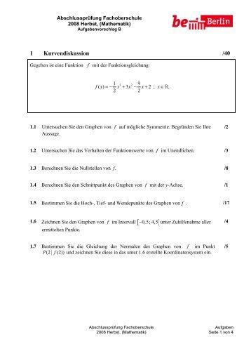 1 Kurvendiskussion /40 - OSZ Farbtechnik und Raumgestaltung