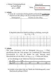 x. kleiner Leistungsnachweis im Fach Physik am xx2009