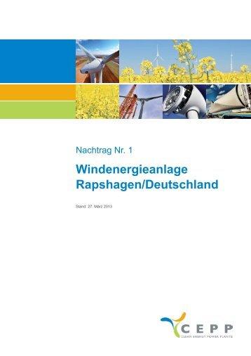 Nachtrag Nr 1 Private Placement Memorandum Windenergieanlage ...