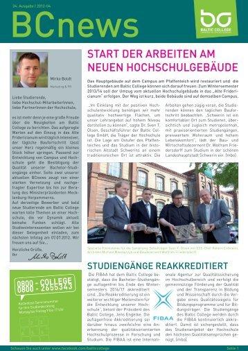 StArt Der ArBeiten Am neuen hOChSChulGeBäuDe - Baltic College