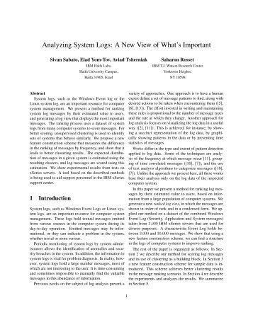 Analyzing System Logs: A New View of What's Important - Usenix