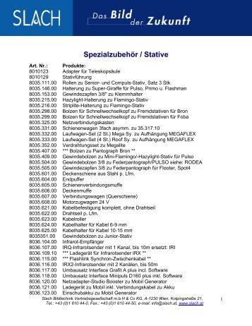 Spezialzubehör / Stative - Slach