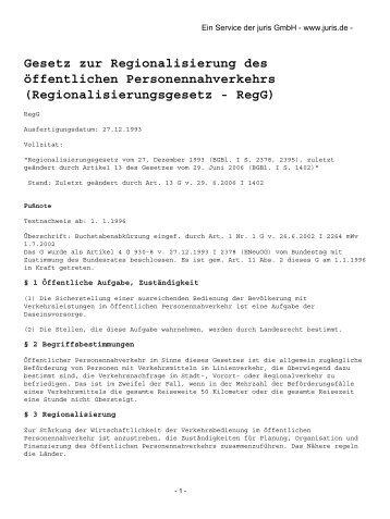 Regionalisierungsgesetz - VGS-Online