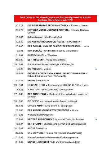 Liste aller Premieren - Albert-Einstein-Gymnasium Hameln