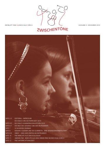 rückblick orchesterprojekt 2010 - freie musikschule zuerich