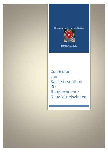 Curriculum zum Bachelorstudium für Hauptschulen / Neue ...