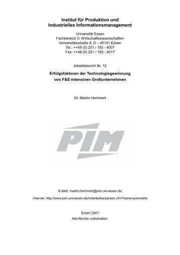 Arbeitsbericht 12 - Institut für Produktion und Industrielles ...