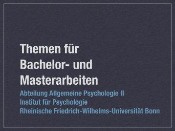 Abteilung Allgemeine Psychologie II Institut für Psychologie ...