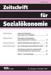 Welche Globalisierung wollen wir? - Zeitschrift für Sozialökonomie